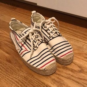 Madewell x Soludos red white and blue espadrilles